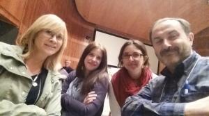 Elena Martín, presidenta de ASPE; Nuria Quintana, tesorera; Ana B. García Carlos, vocal, y Roberto Zamarbide, secretario, al término de la Asamblea de A Coruña